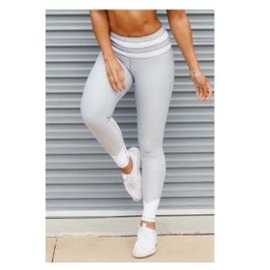 Pants - 💥⚡️White Stripe Leggings, Cool Silver💥⚡️